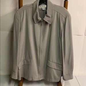 NWT Saks Fifth Avenue 100% silk Silver Jacket XL